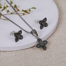 Load image into Gallery viewer, AVNI - Oxidised Silver Clover Set