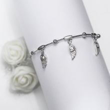 Load image into Gallery viewer, Silver Zircon Winged Charm Bracelet