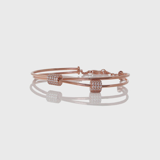 Silver Rose Gold Clover Loop Bracelet