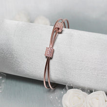 Load image into Gallery viewer, Silver Rose Gold Clover Loop Bracelet-GIVA Jewellery