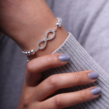 Load image into Gallery viewer, Silver Zircon Infinity Bead Bracelet