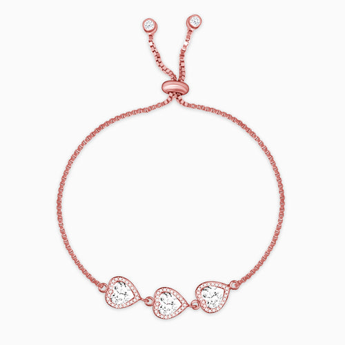 Rose Gold Heart Trio Bracelet
