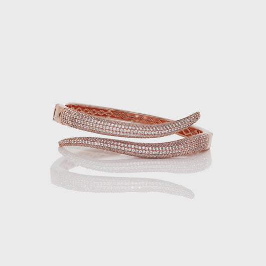 Silver Rose Gold Rattle Cuff Bracelet
