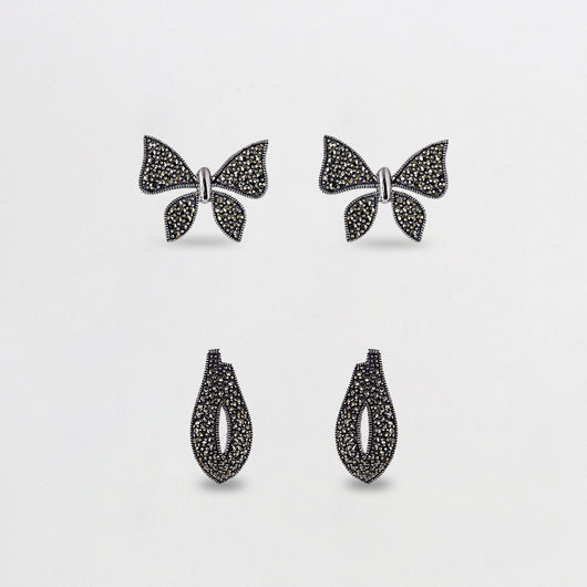AVNI - Oxidised Silver Charming Butterfly Set