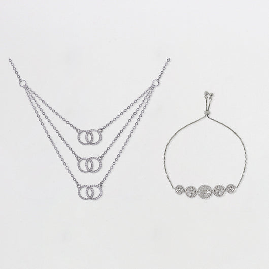 Silver Zircon Embrace Set