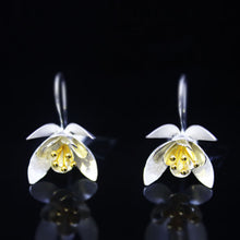 Load image into Gallery viewer, Golden Petals Silver Flower Earrings-GIVA Jewellery