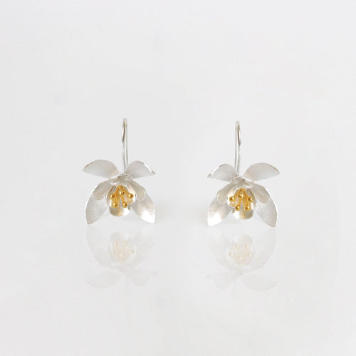 Golden Petals Silver Flower Earrings