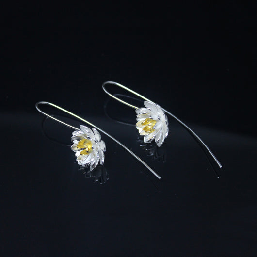 Gold Silver Flower Earrings-GIVA Jewellery