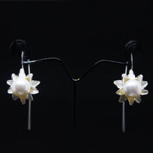 Load image into Gallery viewer, White Pearl Silver Dangling Earrings-GIVA Jewellery
