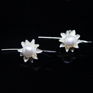 White Pearl Silver Dangling Earrings-GIVA Jewellery