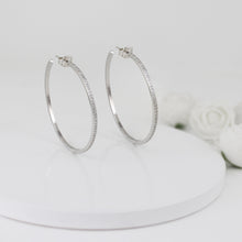 Load image into Gallery viewer, Silver Studded Hoop Earrings