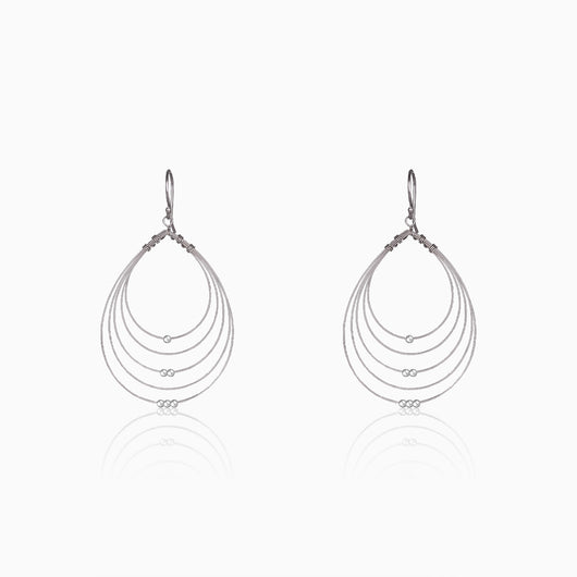 Silver Beaded Multi-Hoop Earrings