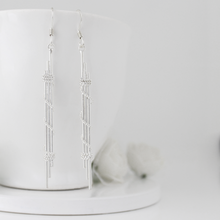 Load image into Gallery viewer, Silver Dainty Rope Earrings