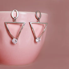 Load image into Gallery viewer, Silver Triangle Drop Earrings
