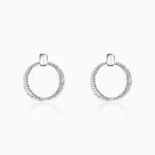 Load image into Gallery viewer, Silver Coil Hoop Earrings