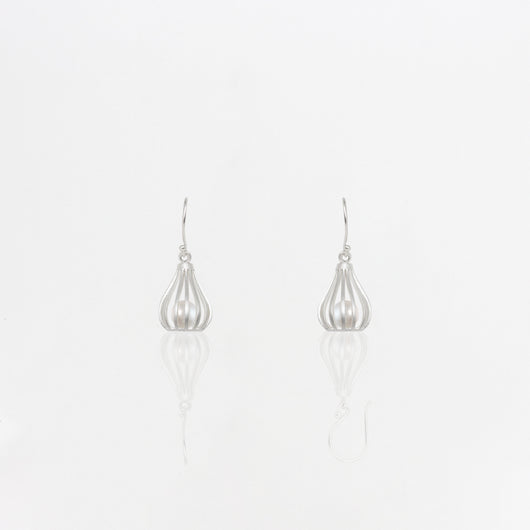 Silver Pearl Cage Earrings