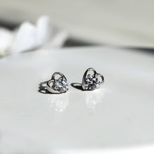 Load image into Gallery viewer, Silver Zircon Tiny Heart Studs