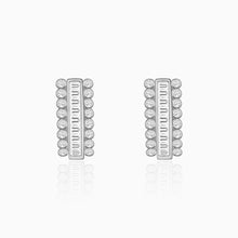 Load image into Gallery viewer, Silver Zircon Charm Stud Earrings