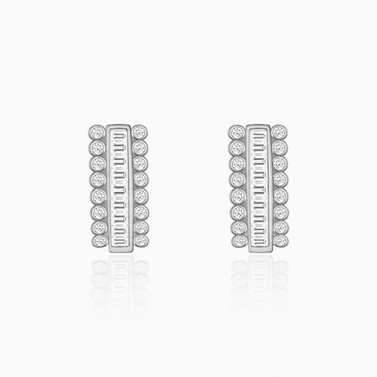 Silver Zircon Charm Stud Earrings