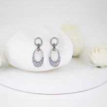 Load image into Gallery viewer, Silver Zircon Crescent Oval Earrings