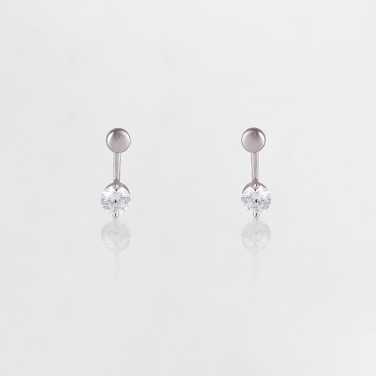 Silver Zircon Pendulum Earrings