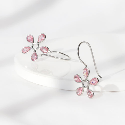Silver Pink Dahlia Earrings