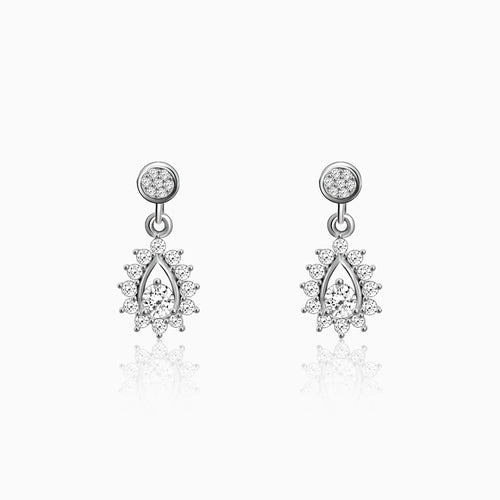 Silver Zircon Shimmer Drop Earrings