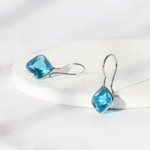 Load image into Gallery viewer, Silver Aqua Blue Crystal Earrings