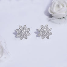 Load image into Gallery viewer, Silver Zircon Blooming Flower Earrings
