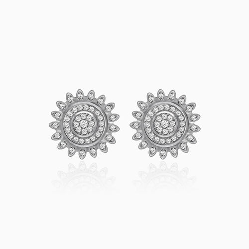 Silver Zircon Mandala Earrings