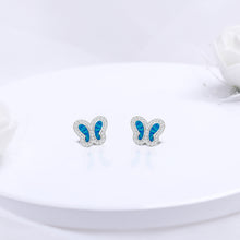 Load image into Gallery viewer, Silver Aqua Blue Butterfly Earrings