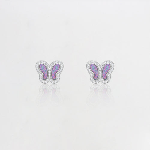 Silver Mystic Prism Butterfly Earrings