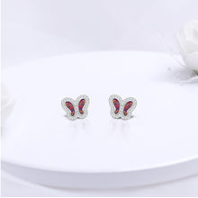 Load image into Gallery viewer, Silver Purple Prism Butterfly Earrings