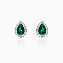 Load image into Gallery viewer, Silver Emerald Green Tear Drop Earrings