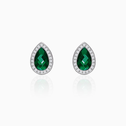 Silver Emerald Green Tear Drop Earrings
