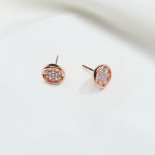 Load image into Gallery viewer, Rose Gold Flower Circle Earrings