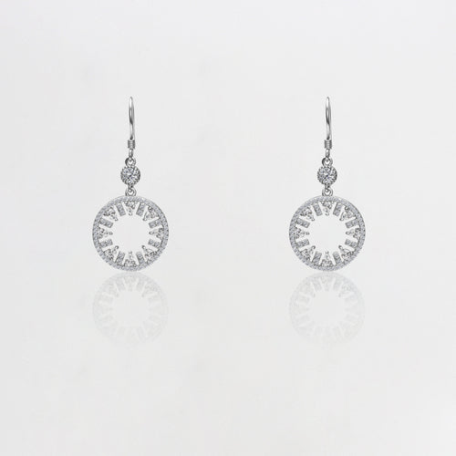 Silver Zircon Wheel Earrings