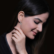 Load image into Gallery viewer, Silver Zircon Sparkling Star Earrings