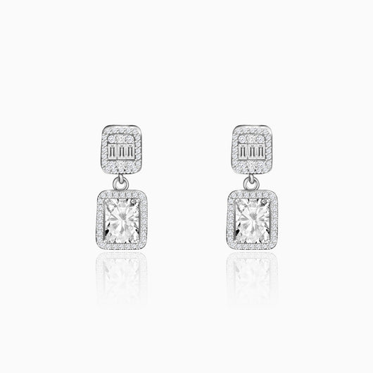 Silver Zircon Bold Baguette Earrings