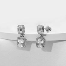 Load image into Gallery viewer, Silver Zircon Bold Baguette Earrings