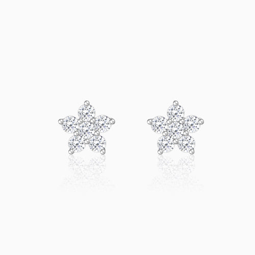 Silver Zircon Tiny Flower Earrings