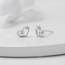 Load image into Gallery viewer, Silver Flower Heart Stud Earrings