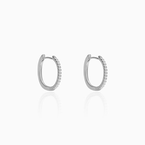 Silver Zircon Twinkling Hoop Earrings