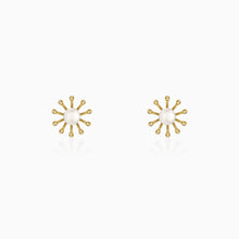 Load image into Gallery viewer, Golden Pearl Sunshine Stud Earrings