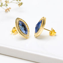 Load image into Gallery viewer, Golden Sapphire Blue Marquise Earrings