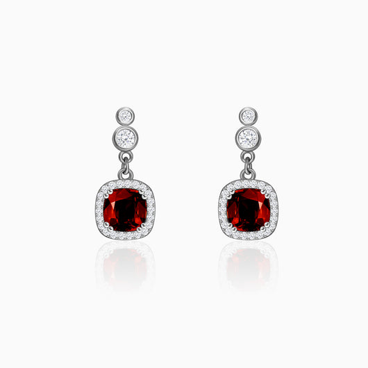 Silver Ruby Red Halo Earrings