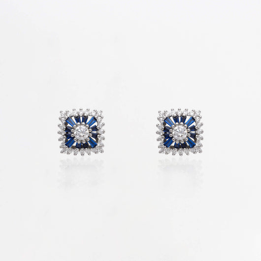 Studded Silver Royal Blue Square Studs