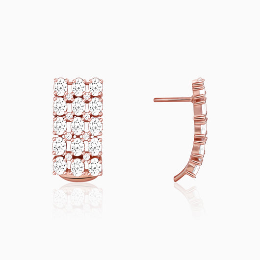 Rose Gold Layered Zircon Earrings