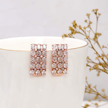 Load image into Gallery viewer, Rose Gold Layered Zircon Earrings