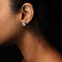 Load image into Gallery viewer, Silver Square 10mm Zircon Earrings-GIVA Jewellery